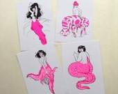 Set of four obscure mermaid riso prints risograph
