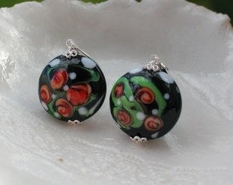 Venetian Murano Black Glass Earrings