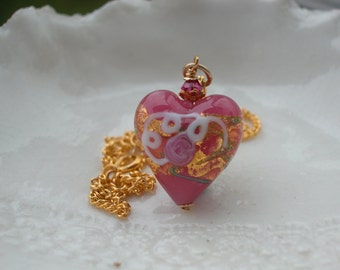 Venetian Murano Glass Wedding Cake Pink Heart Necklace