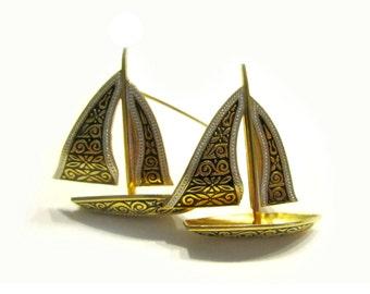 Vintage Damascene Brooch Signed Spain Sail Boat Brooch Sailor Nautical Vintage Jewelry Gift for Her Under 15