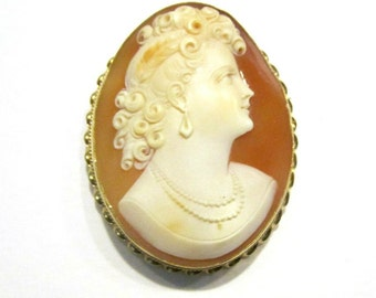 vintage antique carved 14k gold cameo large brooch 2 pendant or pin genuine solid gold frame cameo jewelry