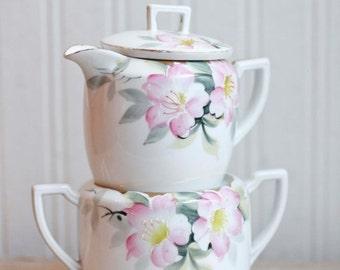 Antique Noritake Creamer and Sugar Bowl with Lid, Pink Azalea Pattern Noritake Vintage China, Handpainted Fine China, Wedding Bridal Gift