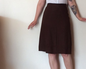 Vintage 1940s chocolate brown linen A-line skirt
