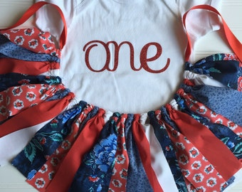 Little Girl Outfit - Baby Girl Western Outfit - Red Blue Outfit - Fabric Tutu Skirt 1st Birthday - First Birthday Baby Outfit