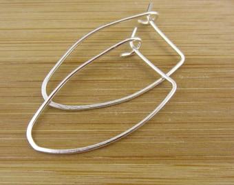 Oval Sterling Silver Hoop Earrings. Small Modern Hoops. Modern Earrings. Delicate. Simple Hoops. Geometric Sterling Silver Earrings.