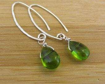 Green Czech Glass Earrings. Sterling Silver Modern Earrings. Olive Green Drop Earrings. Oval Earrings. Wire Wrapped Emerald Green Teardrop.