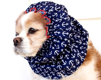 Anchors Away Dog Snood, Nautical, Cotton Long Ear Coverup, Cavalier King Charles or Cocker Snood, Preppy,