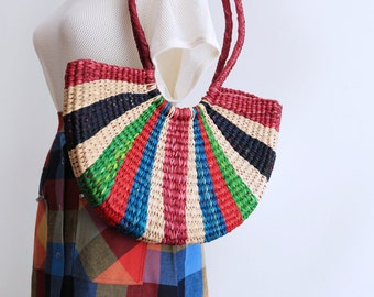 Gorgeous summer straw bag basket striped