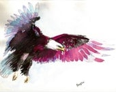 "RESERVED for Tanya-Art Original Watercolor Animals Pets  "" Eagle """
