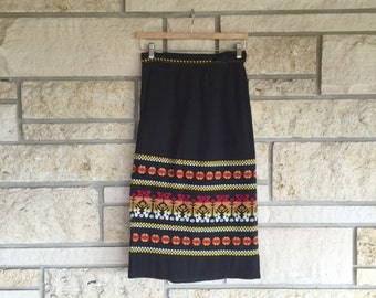 Vintage 70s 80s Black Embroidered Guatemalan Wrap Skirt • South American Woven Cotton Skirt
