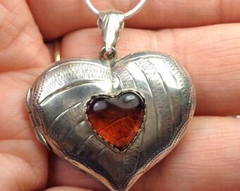 LARGE Vintage Sterling Silver, Engraved Heart, Locket Pendent Necklace, Victorian, Gothic, Romantic, Edwardian Fantasy, Large Heart Locket
