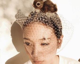 Rabbit headband with white veil