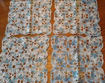 Vintage Crocheted Square Blue Doilies / Set of 4 Pretty Blue Lacy Scalloped Edge / Retro Mid-Century Linens Textiles