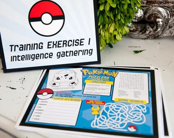 Pokemon Inspired Printable Activity Sheet- INSTANT DOWNLOAD