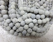 Natural Lava Beads, Full Strand 15.5 inch, Round white  Volcanic Rock, 8mm 10mm 12mm