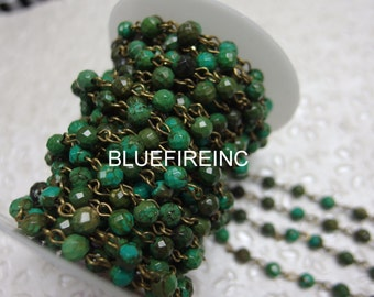 3 feet Faceted 6mm Faceted Green Turqouise beads with Antique Bronze Wire Chain // Beaded Gemstone Jewelry Chain // Unfinished Chain