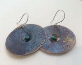 Hammered Copper Earrings, Copper Disc Earrings, Copper Earrings, Oxidized Copper Earrings, Copper Jewelry