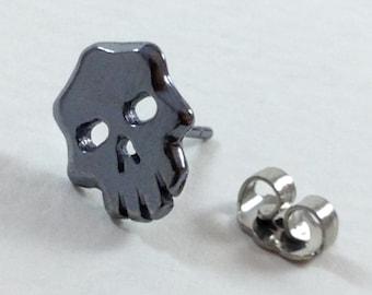 Skull Stud Earrings, Sterling Silver, Handmade