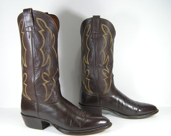vintage cowboy boots men's 10 D dark brown western leather nocona made in usa