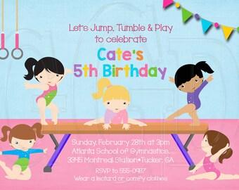 Gymnastics Invitation -Digital File
