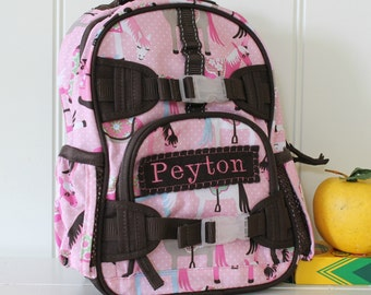 Mini Baby Backpack Pottery Barn (Mini Size) -- Pink/Brown Horse