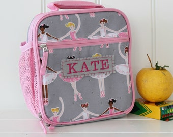 Lunch Bag With Monogram Classic Style Pottery Barn -- Gray/Pink Ballerina