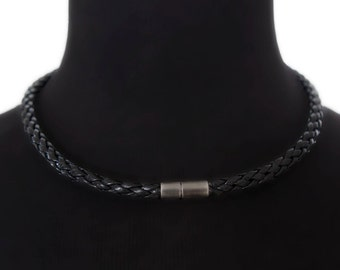 Braided black leather choker, braided leather necklace  - the Navarro