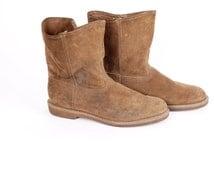 Tan Suede Hawkeye Pull On Work Boots Mens 10 60s Vintage Light Brown Leather Western Roper Vulcan Heel Boots