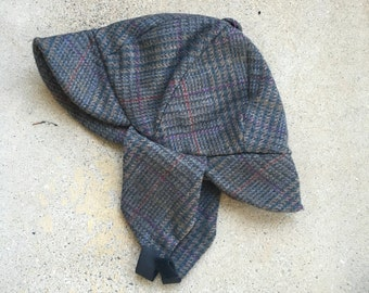 Sherlock Holmes hat tweed plaid deerstalker cap with ear flaps gray grey Men Women small