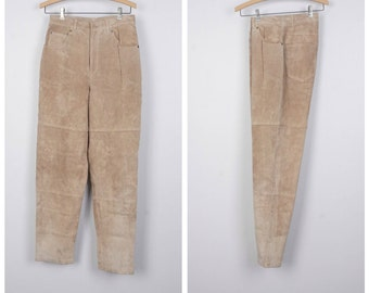 NWT suede Ralph Lauren high waist flat front pants 80s 90s vintage leather tapered leg jeans 6 8 XS small 27 waist