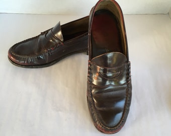 Oxblood Leather Johnston and Murphy Penny Loafers Vintage Men's Slip On Shoes 11