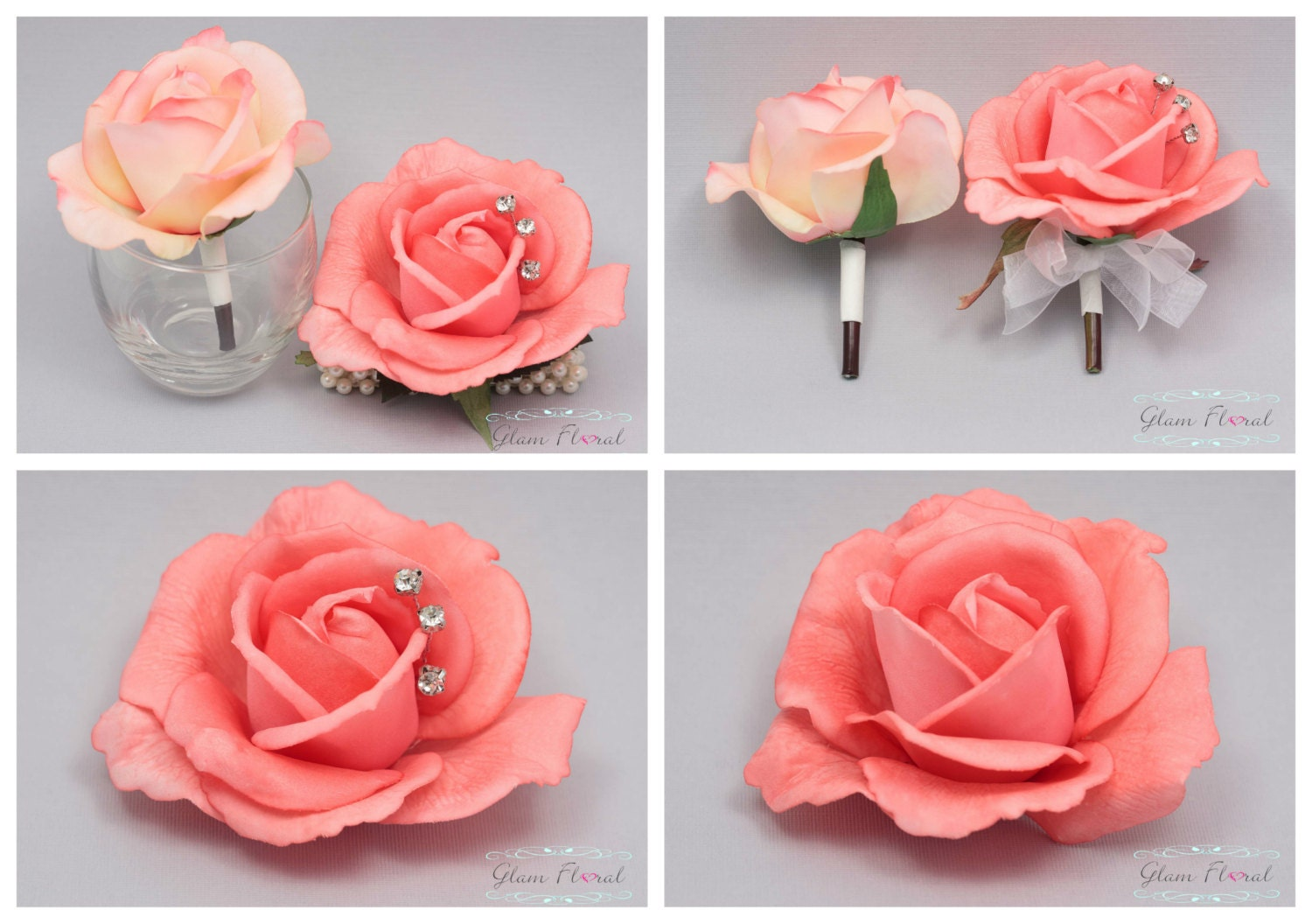 Coral Rose Hair Clip Real Touch Flowers Caroline by GlamFloral
