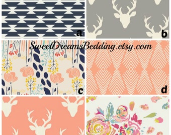 Custom Crib Bedding Grey Peach Navy Deer tribal floral,bumper,skirt,fitted sheet