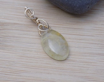 14K Gold Filled Wire Wrapped Golden Rutilated Quartz Bead Wire Wrapped Pendant Charm Handmade Jewelry
