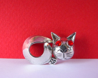 Vintage Cat Brooch - Sterling Silver Cat Pin - Red Rhinestone Eyes - Parra Mexico 925