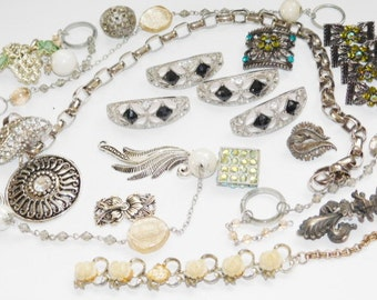 Costume Jewelry Lot destash Mixed Jewelry for repurpose or repair reuse assemblage upcycling