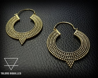 Boucles d'oreille laiton # brass hoop earrings # tribal hoop