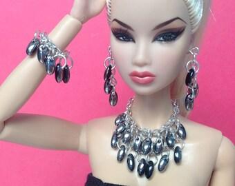"Doll Jewelry for Silkstone Barbie, Fashion Royalty 11"" S814 silver & black"