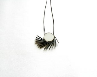 Greek Inspired-Modern Necklace with White Resin-Pendant Necklace-Oxidized Necklace-Greek Jewelry-Modern Greek Jewelry-Contemporary Jewelry