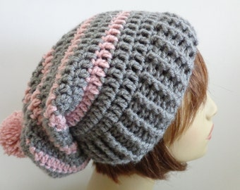 Slouchy Crocheted Beanie in Grey with Lt. Rose and Pompom