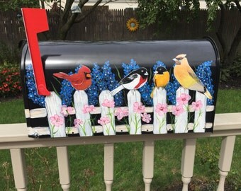 Custom mailbox, hand painted mailbox, mailbox with bird, mailbox with fence and birds, black mailbox, standard mailbox, jumbo mailbox