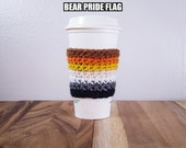Bear Pride Flag Crochet Coffee Cozy