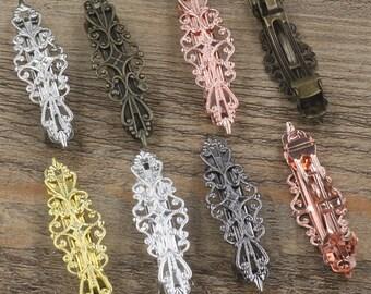 10 Hair Barrettes- Brass Bronze/ Silver/ Gold/ Rose Gold/ White Gold/ Gun-Metal Plated 15x57mm Filigree Floral Barrette Base Setting- Z7485