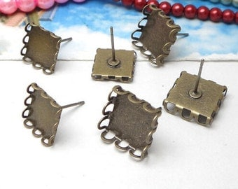 100PCS Blank Earring Posts- Brass Antique Bronzed Tone Lace Edged 10mm/ 12mm Square Bezel Setting Wholesale Jewelry Findings