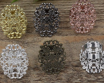 20 Brass Bronze/ Silver/ Gold/ Rose Gold/ White Gold/ Gun-Metal Plated Adjustable Ring W/ Filigree Floral 24x31mm Oval Base Setting- Z5721