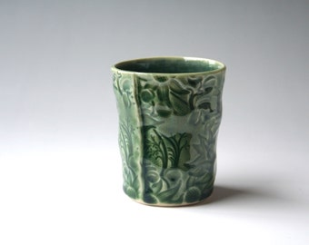 Small beaker with Australian Flannel Flower design - Green and blue stoneware ceramic cup