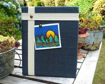 Nautical Pinboard with easel back in your choice of burlap color and natural cotton twill tape, sits on your desk or dresser, card display