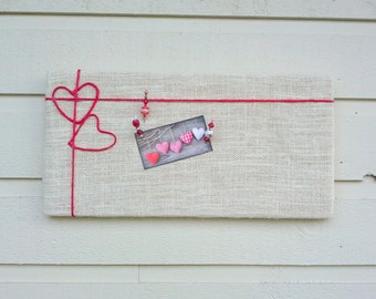 Romantic Red Hearts Bulletin Board with white burlap and red twine - bridal shower or wedding idea, customization available