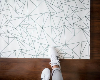 Geometric Triangles Rug / Minimalist Kids Room / Monochrome Rug / Geometric Kitchen Mat | PVC Rug | Kids Decor / Minimalist Nursery