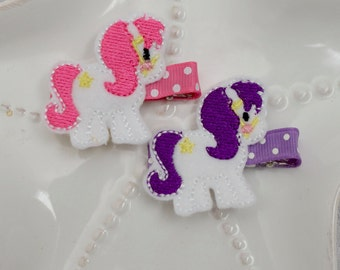 Pink or Purple Pony Horse Hair Clip